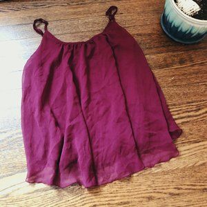 🌿 Wine Red Flowy Camisole Top • Express